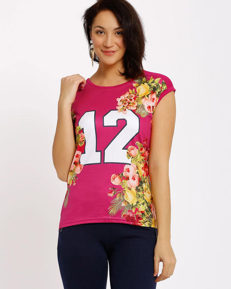 Floral Print T-shirt By Ajile By Pantaloons ( Fuchsia )
