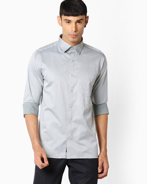 Slim Fit Shirt With Patch Pocket By VIMAL APPARELS ( Green )