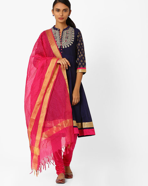 Flared Churidar Kurta With Dupatta By AVAASA SET ( Navy )
