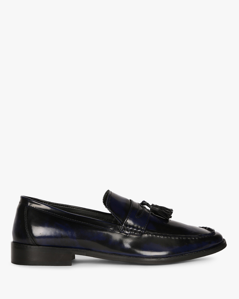 Genuine Leather Tasselled Loafers By Hats Off Accessories ( Navy )