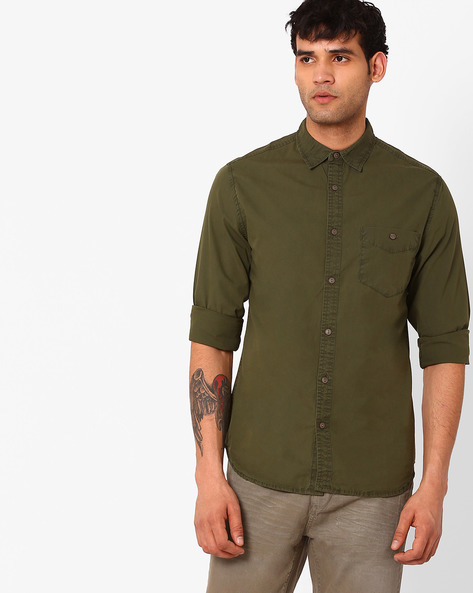 Slim Fit Casual Shirt By Blue Saint ( Olive )
