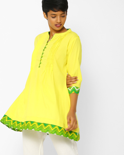 Cotton Tunic With Pintucks By Shree ( Yellow )