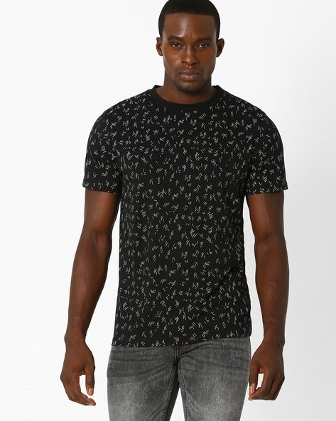 Slim T-shirt With Splatter Effect By Blue Saint ( Black )