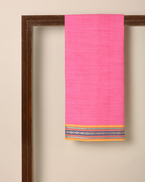 South Cotton Fabric With Bijli Woven Border By Indie Picks ( Pink )