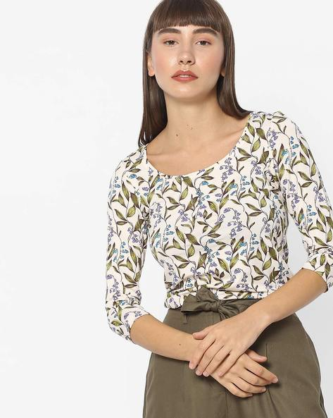 Floral Print Scoop-Neck Top By CODE By Lifestyle ( White )