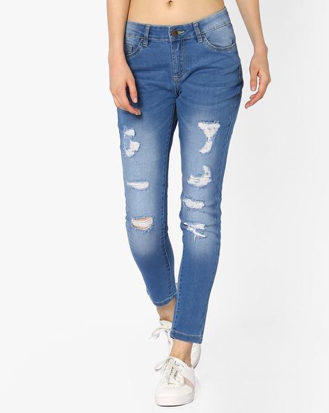 Skinny Fit Distressed Jeans By AJIO ( Lightblue )