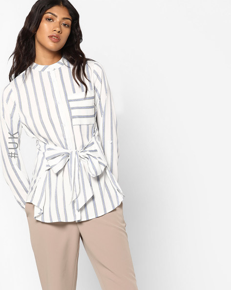 Striped Shirt With Patch Pocket By INFLUENCE ( White )