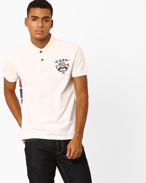 Printed Slim Fit Polo T-shirt By US POLO ( Ivory )