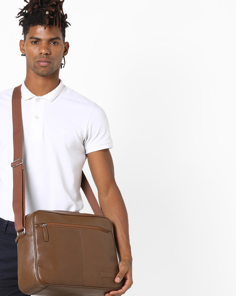 Genuine Leather Messenger Bag By JUSTANNED ( Tan )
