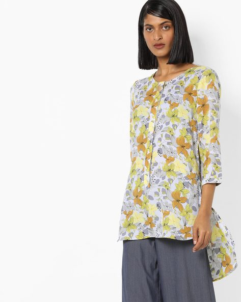 Floral Print High-Low Tunic By AJIO ( Green )