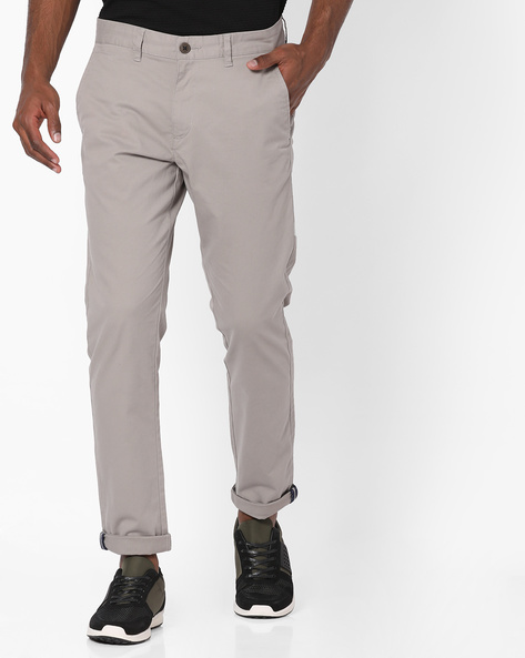 Flat-Front Tapered Chinos By NETPLAY ( Medgrey )
