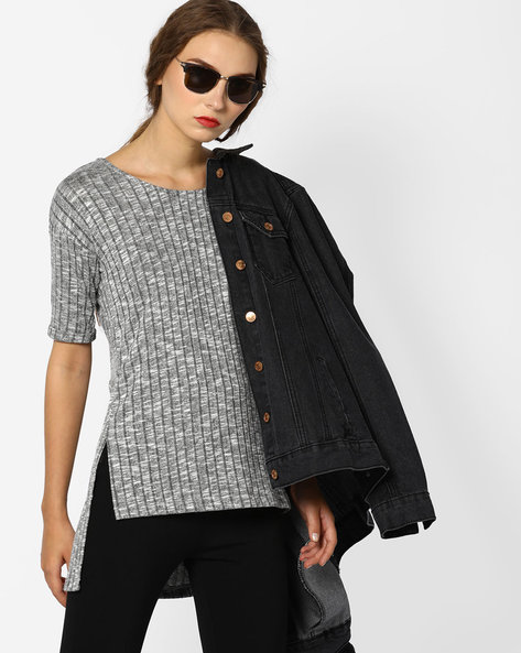 High-Low Top With Drop-Shoulder Sleeves By BOSSINI ( Grey )