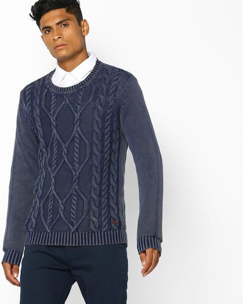 Slim Fit Pullover With Knitted Pattern By AJIO ( Blue )