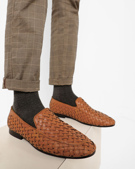 Genuine Leather Loafers With Basket Weave By Modello Domani ( Brown )