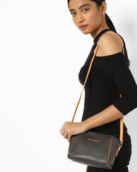 Textured Sling Bag With Detachable Strap By Lino Perros ( Coffee )