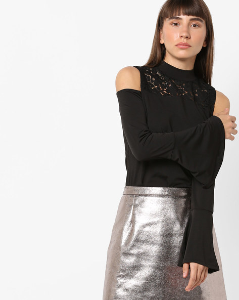 Cold-Shoulder Top With Bell Sleeves By AJIO ( Black )