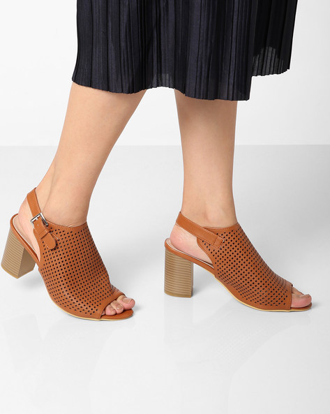 Chunky Heels With Buckle Closure By AJIO ( Tan )