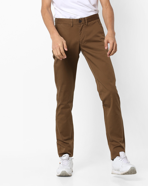 Slim Fit Flat-Front Trousers By INDIAN TERRAIN ( Ltblue )