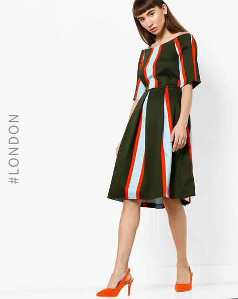 Off-Shoulder Striped A-line Dress By Closet London ( Multi )