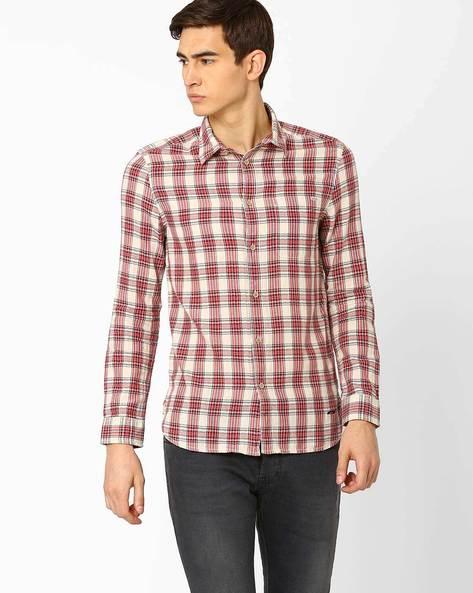 Gingham Check Slim Fit Shirt By Jack & Jones ( Maroon )