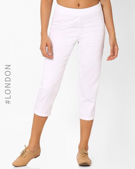 Cotton Capris By Marks & Spencer ( White )