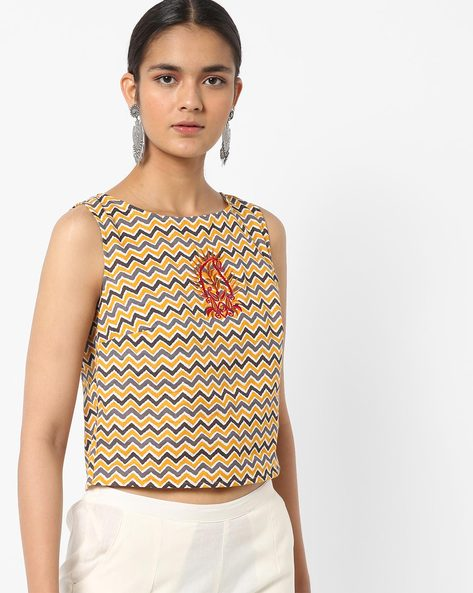 Chevron Print Crop Top With Embroidery By AJIO ( Black )