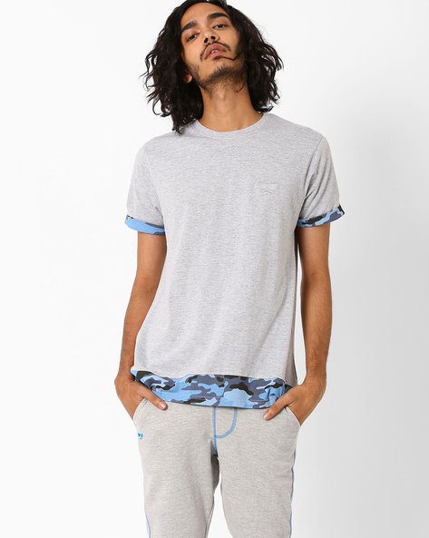 Panelled T-shirt With Camouflage Print Hems By Garcon ( Blue )