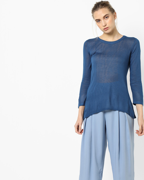 Knit Top With Dipped Hemline By Project Eve WW Casual ( Blue )