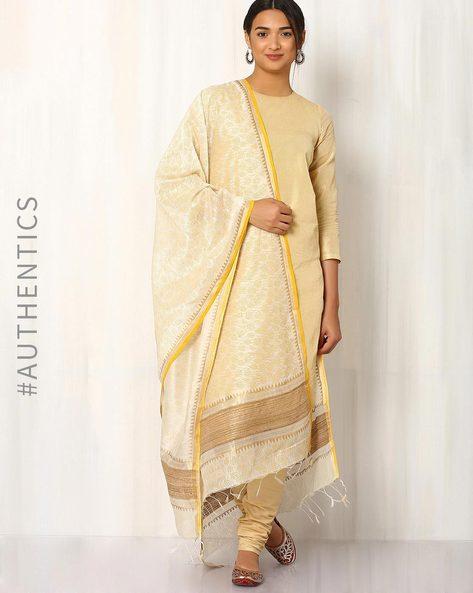 Hand Block Print Maheshwari Dupatta By Indie Picks ( Offwhite ) - 460017096001