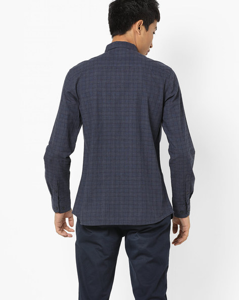 Checked Shirt With Patch Pocket By AJIO ( Olive )