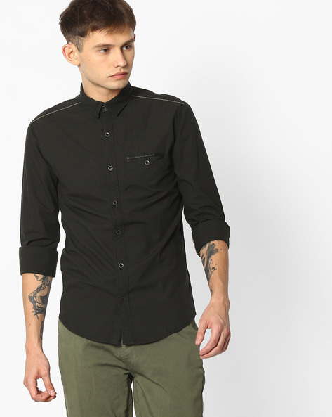 Slim Fit Shirt With Flap Pocket By MUFTI ( Olive )