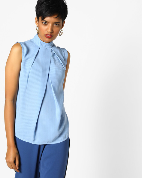 Textured Top With Inverted Pleats By AJIO ( Blue )