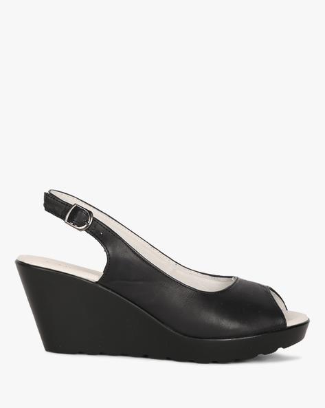 Peep-Toe Wedges With Sling Back By Heavenly Feet ( Black )