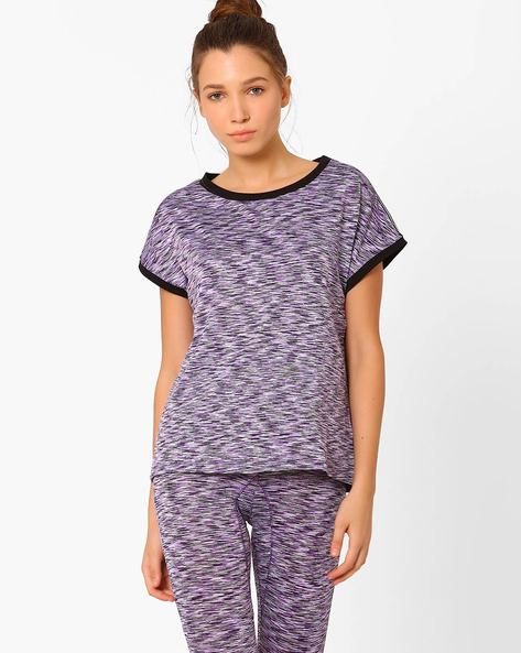 Space-Dyed T-shirt With Extended Sleeves By AJIO ( Purple )