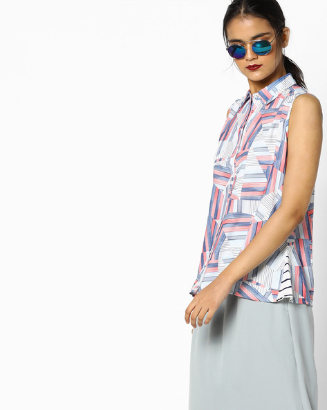Printed Sleeveless Shirt By PE WW Casual ( Blue )