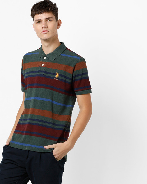Striped Polo T-shirt By U.S. Polo Assn. ( Green )