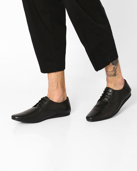 Genuine Leather Derby Shoes By Carlton London ( Black )
