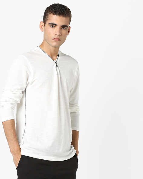 Cotton T-shirt With Zip Collar By DNMX ( Offwhite )