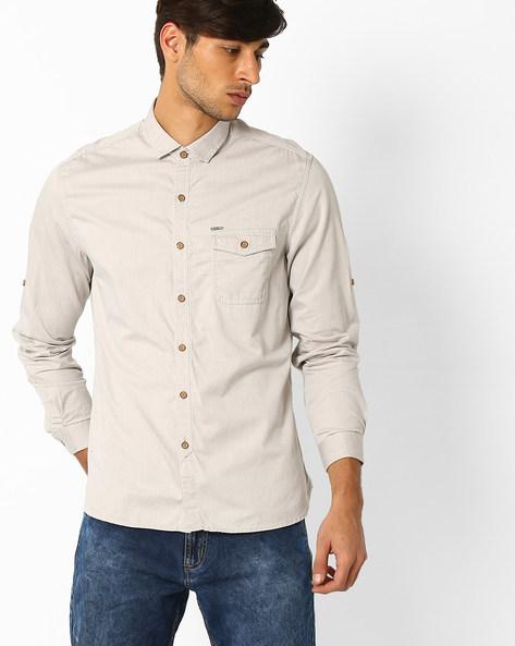 Pinstripe Regular Fit Shirt By NETPLAY ( Khaki )
