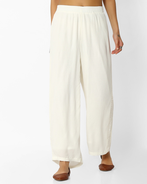 Pleated Palazzo Trousers By CODE By Lifestyle ( Offwhite )