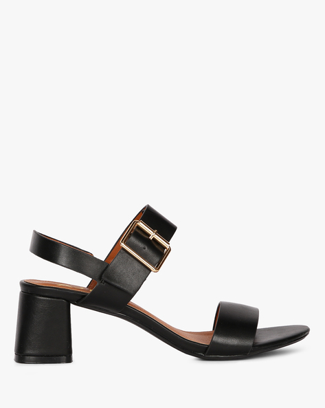 Double-Strap Block Heels With Buckle Fastening By AJIO ( Black )