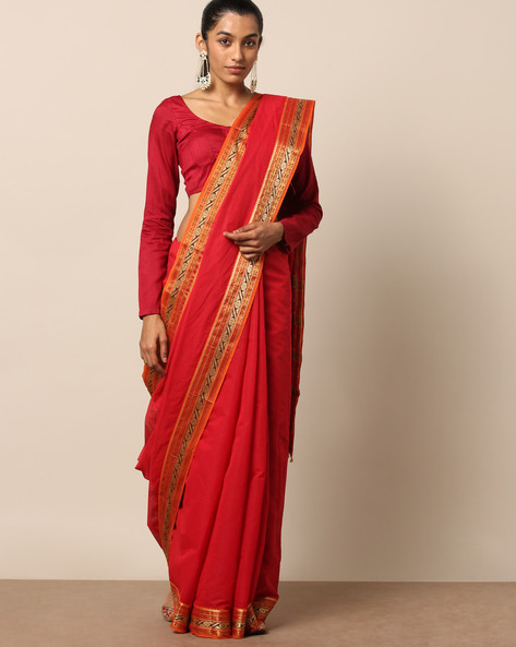 South Cotton Saree With Contrast Zari Border By Indie Picks ( Red )