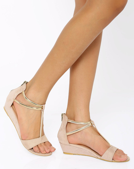 T-strap Wedges By Tresmode ( Beige )
