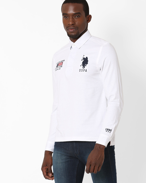 Slim Fit Cotton Polo T-shirt By US POLO ( White )