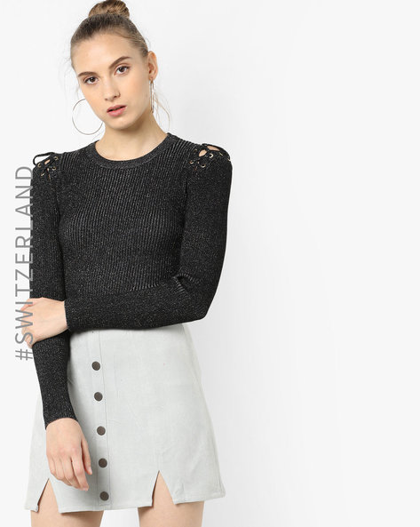 Patterned Pullover With Lace-Up Detail By TALLY WEiJL ( Black )