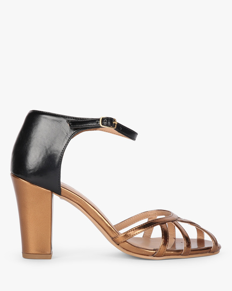 Ankle-Strap Heels With Metallic Upper By AJIO ( Bronze )