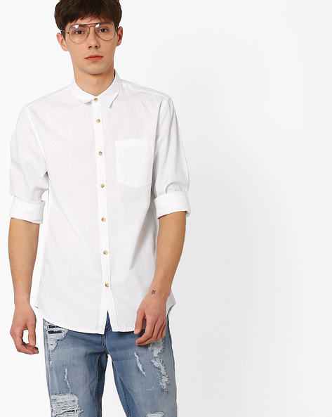 Slim Fit Shirt With Curved Hem By Jack & Jones ( White )