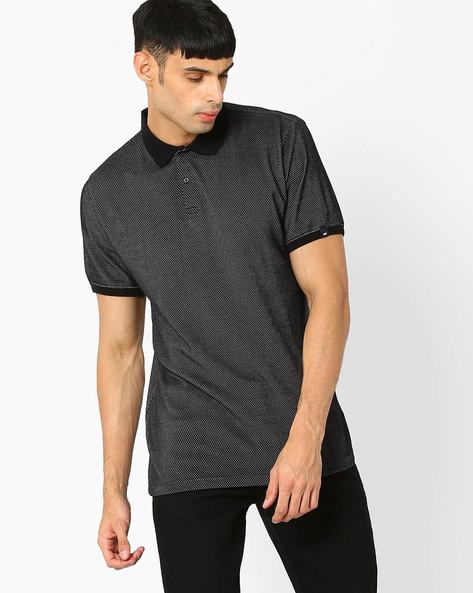 Muscle Fit Jaquard Polo T-shirt By BASICS ( Black )