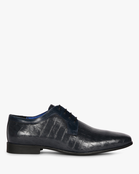 Textured N9-Treated Derby Shoes By AJIO ( Navy )
