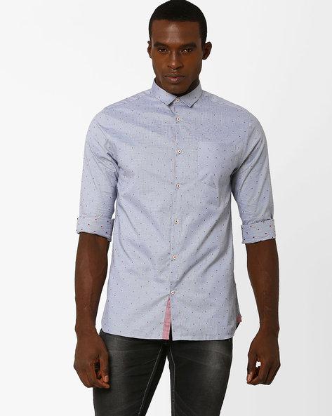 Slim Fit Spot Print Cotton Shirt By Jack & Jones ( Blue )